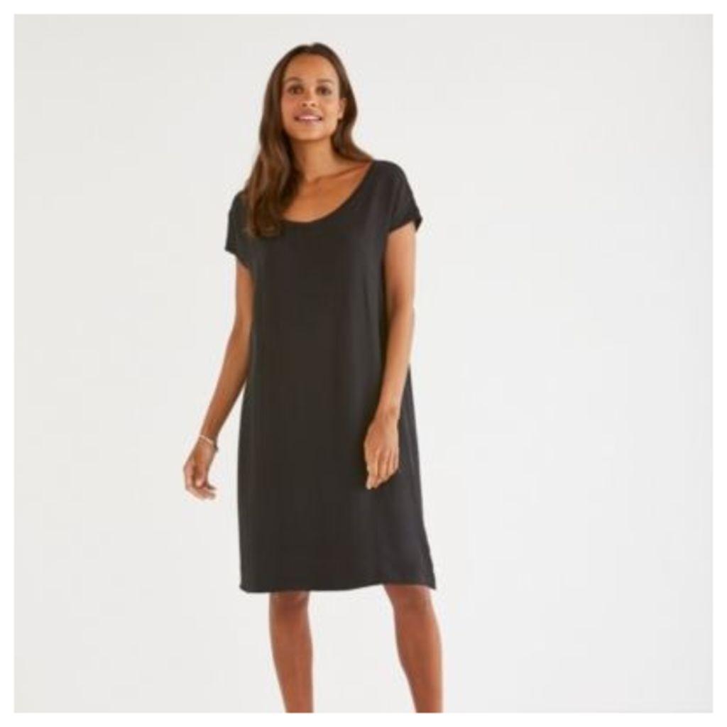 Silk Overlay Jersey Dress