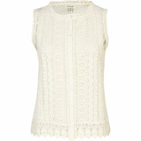 River Island Womens Cream crochet button through tank top