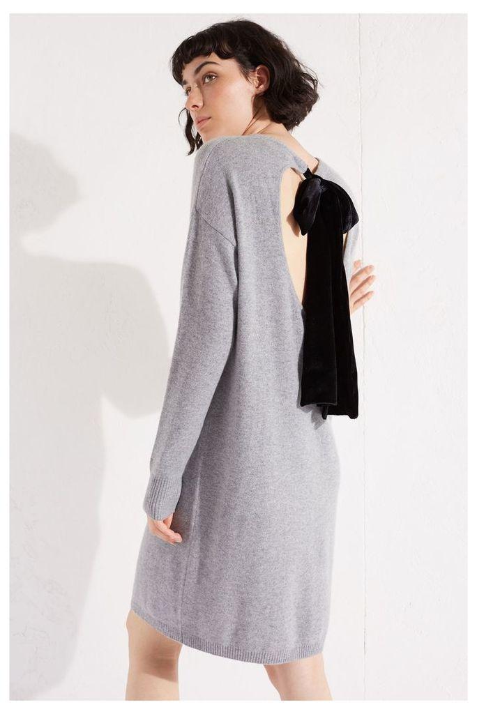 NEW Grey Velvet Bow Cashmere Blend Sweater Dress