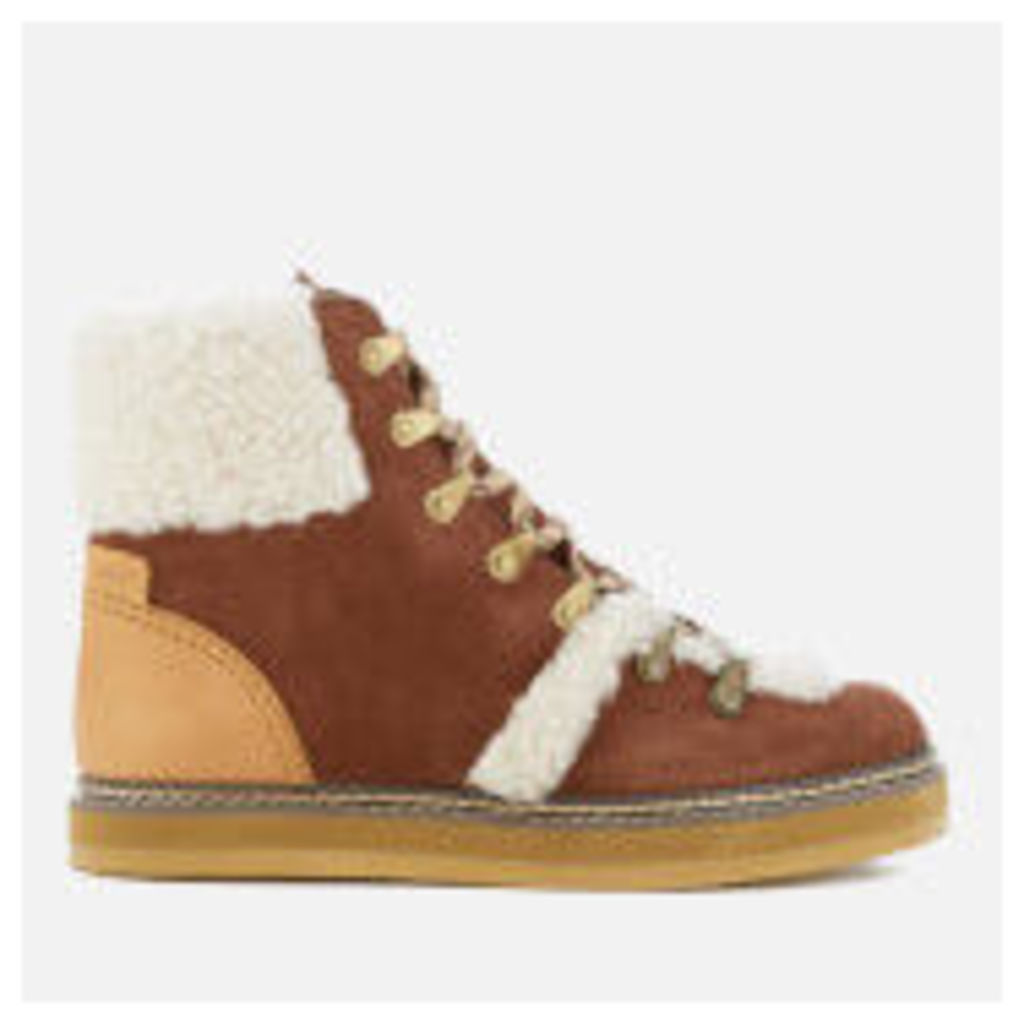See By Chloé Women's Suede Shearling Lined Hiking Boots - Tan