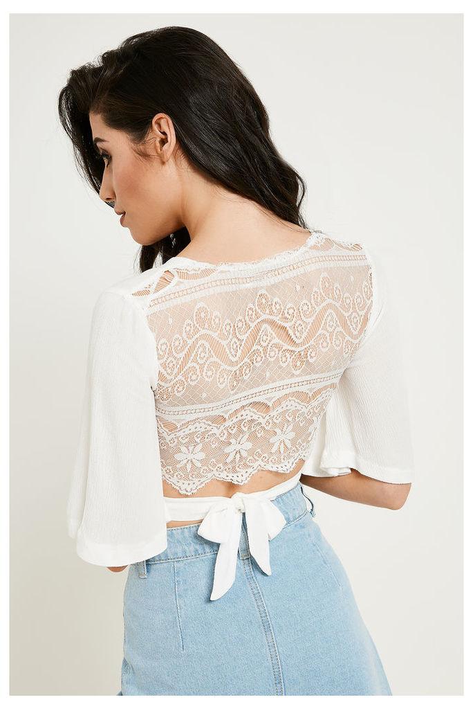 Brand Attic Bell Sleeve Tie Crop Top - Off-White