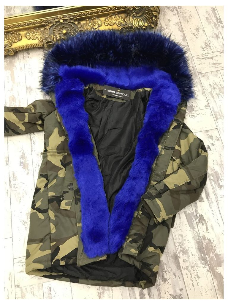 Cleo Royal Blue camo faux fur hooded coat