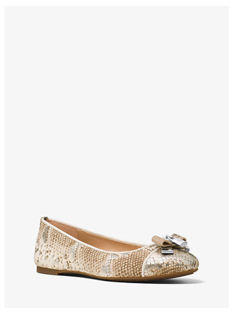 Alice Embossed-Leather Ballet Flat
