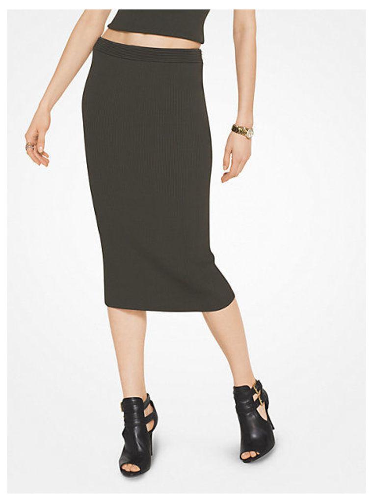 Ribbed Stretch-Viscose Pencil Skirt