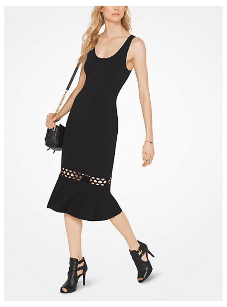 Cutout Stretch-Viscose Flounce Dress