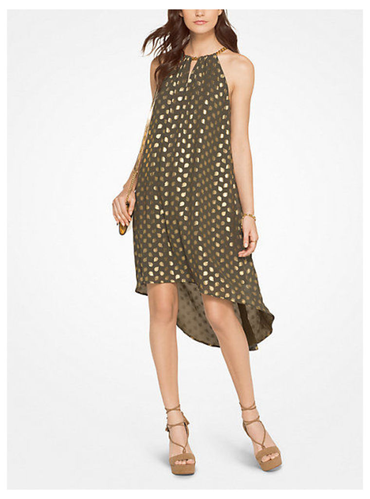 Metallic Paisley Georgette Halter Dress