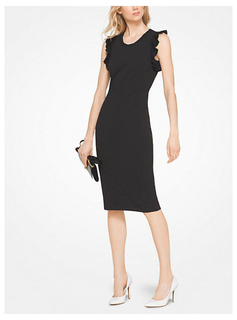 Ruffled Stretch-Crepe Sheath Dress