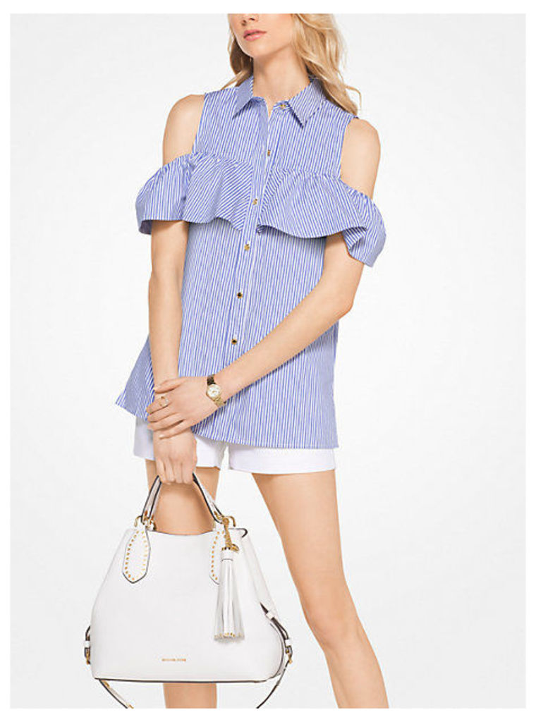 Striped Cotton-Poplin Peekaboo Top