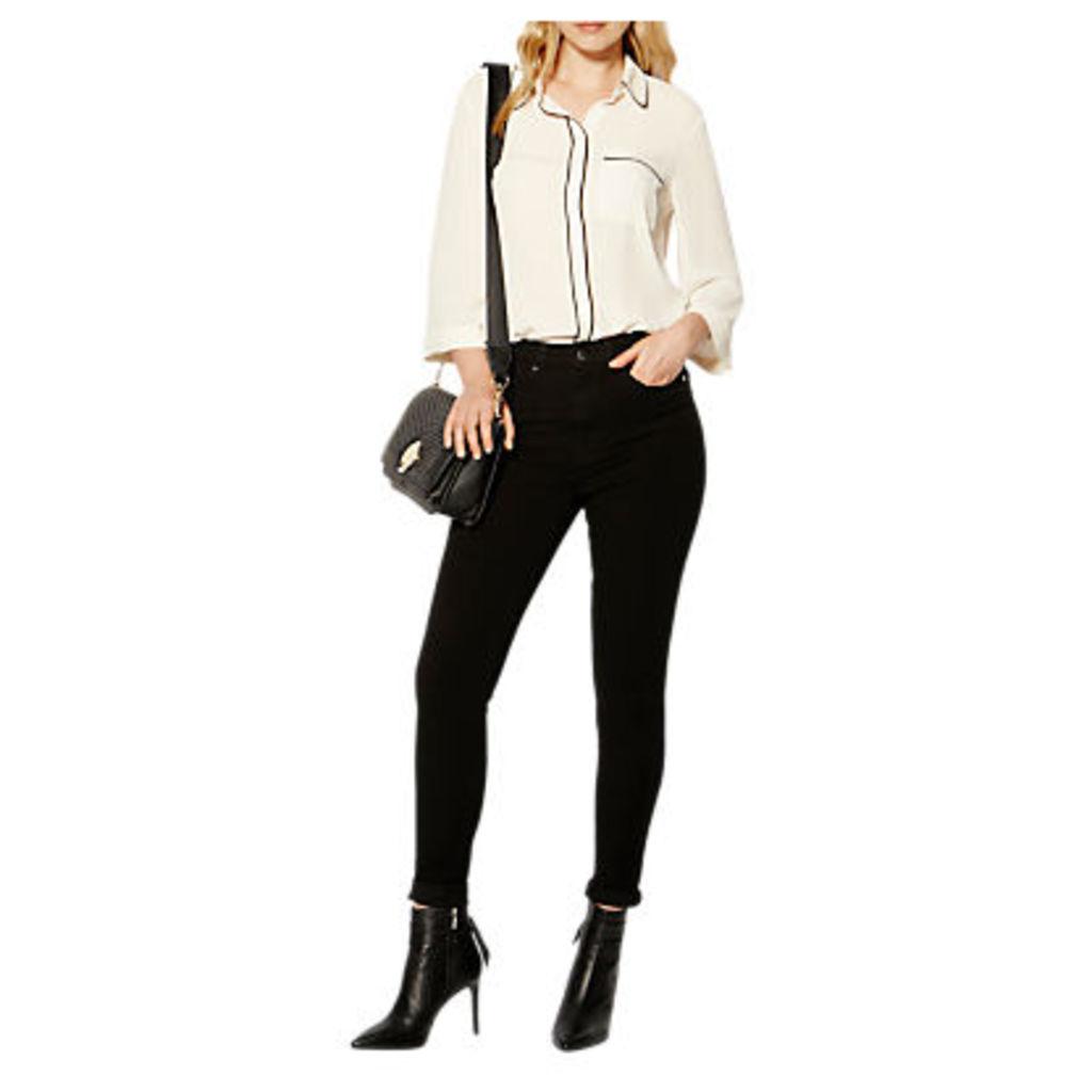 Karen Millen Clean B Denim Collection Skinny Jeans, Black