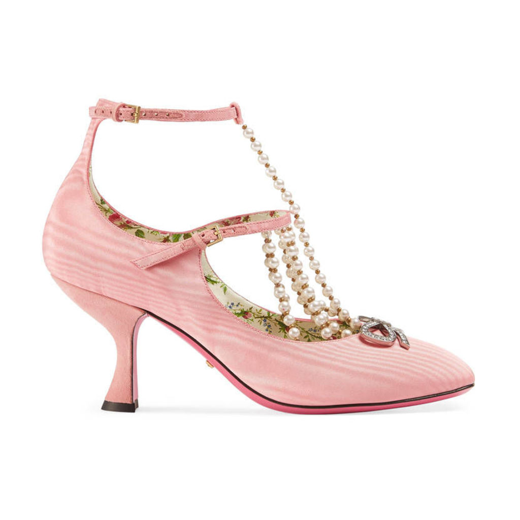 T-strap moiré pump with pearls