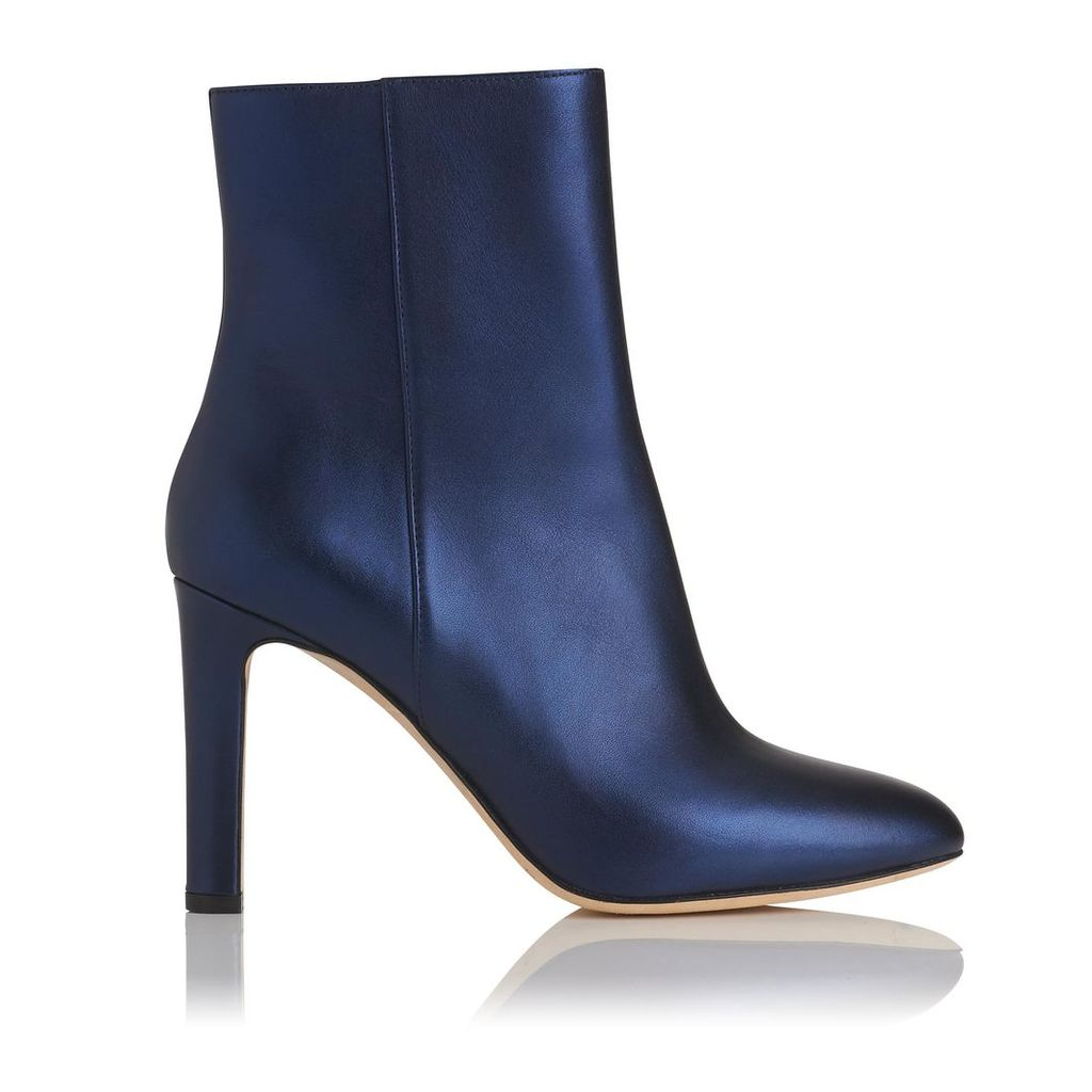 Edelle Navy Metallic Leather Ankle Boots
