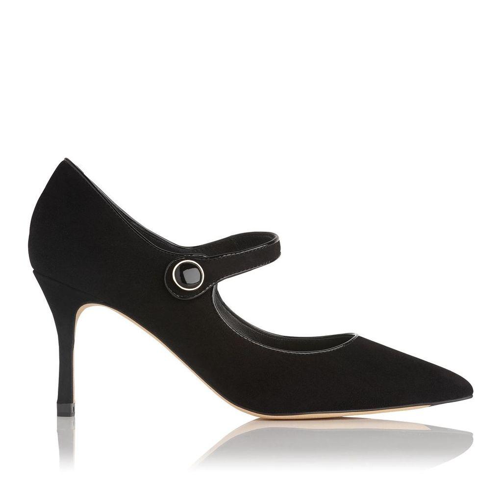 Monica Black Suede Court Shoes