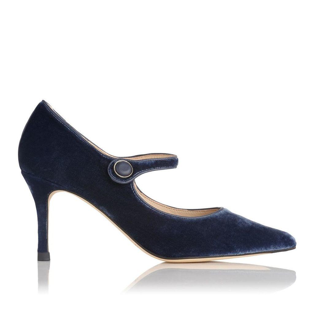 Monica Blue Velvet Court Shoes