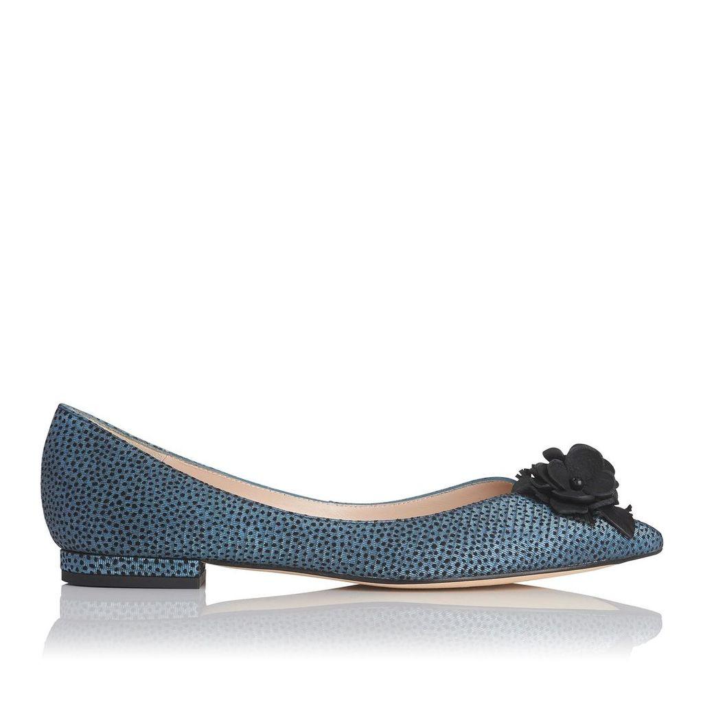 Poppie Blue Metallic Flock Leather Flats