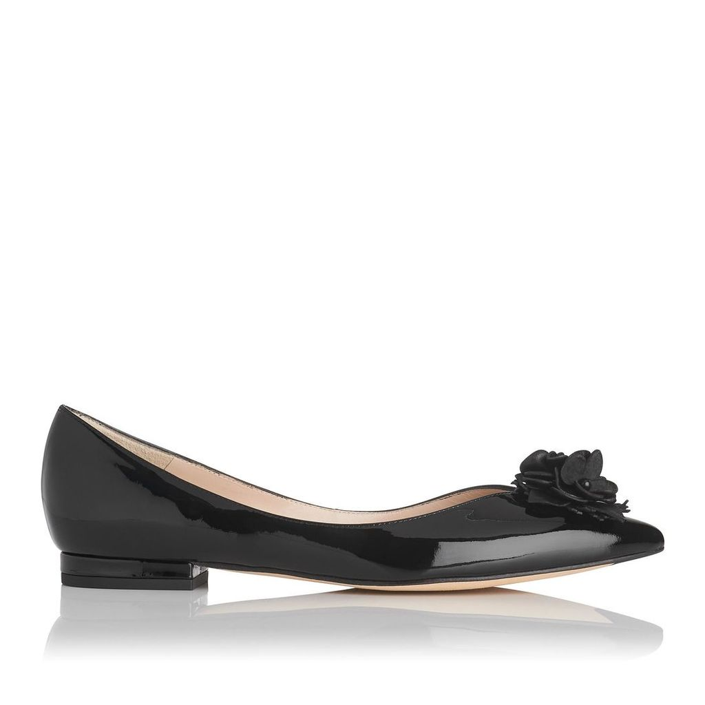 Poppie Black Patent Leather Flats