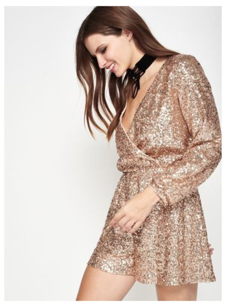 Womens Gold Sequin Playsuit, Gold Colour