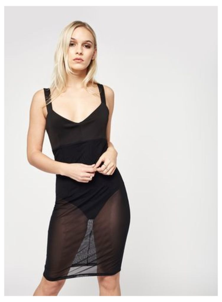 Womens PETITE Mesh Overlay Dress, Black