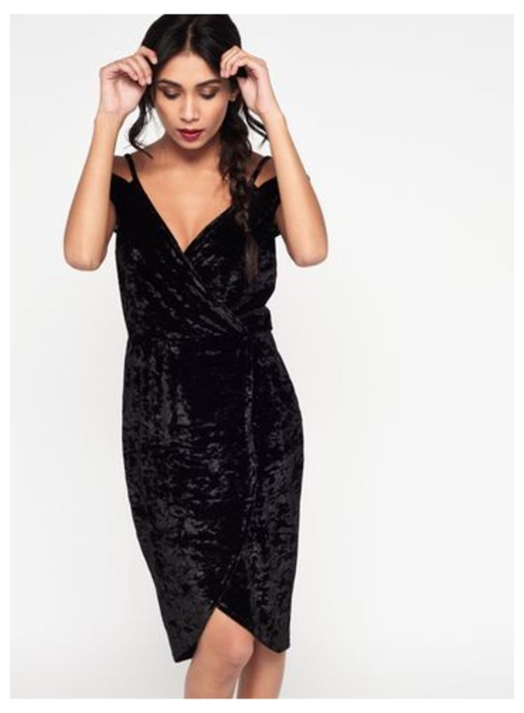 Womens Black Velvet Wrap Dress, Black