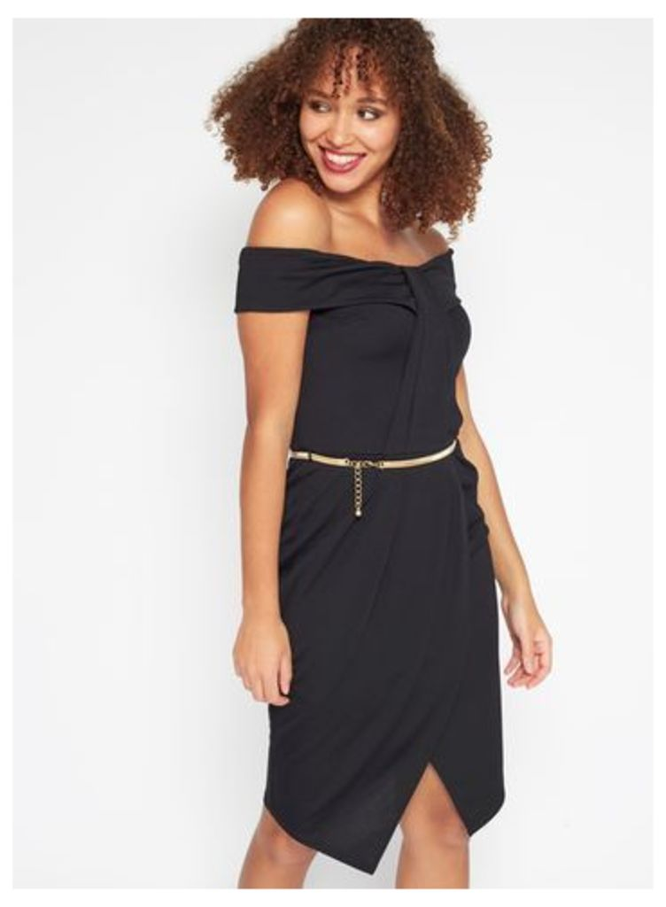 Womens Pleat Bandeau Wrap Dress, Black