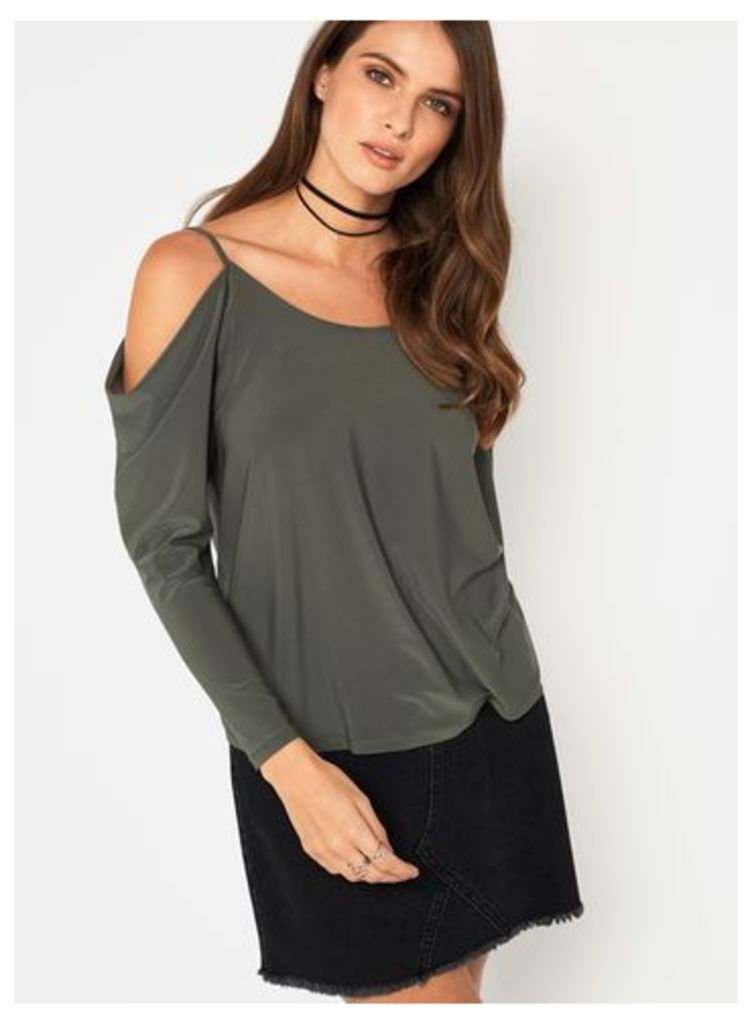 Womens Khaki Slinky Lattice Top, Khaki
