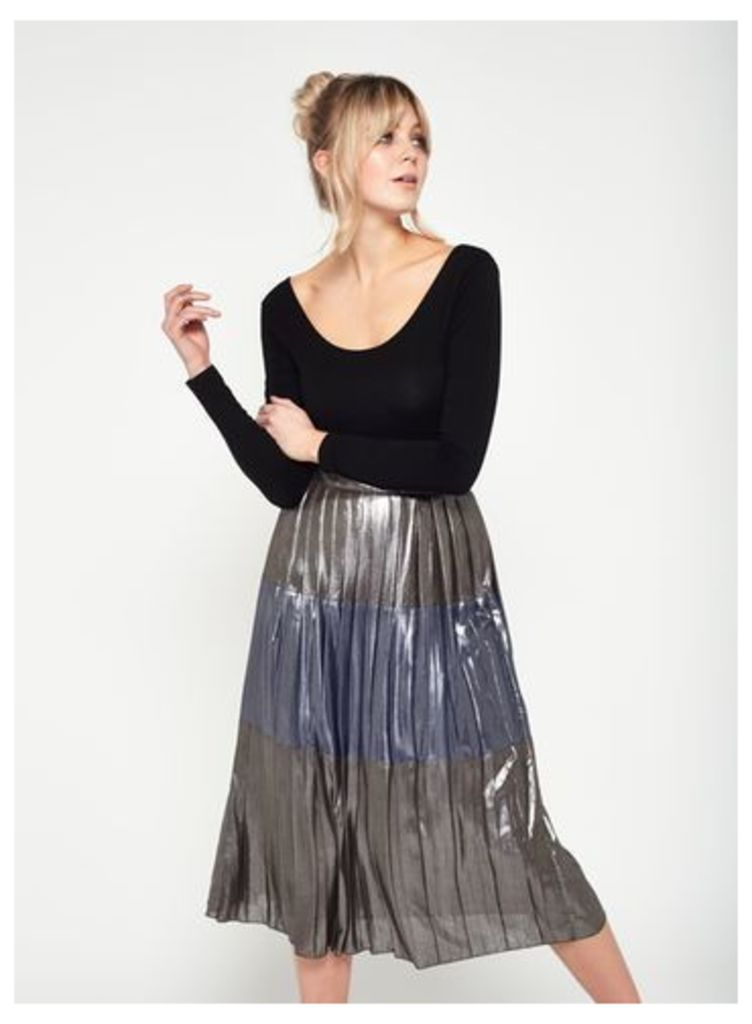 Womens Metallic Stripe Midi Skirt, Silver Colour