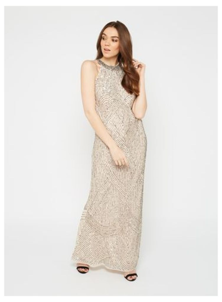 Womens PREMIUM Nude Linear Bead Maxi Dress, Nude