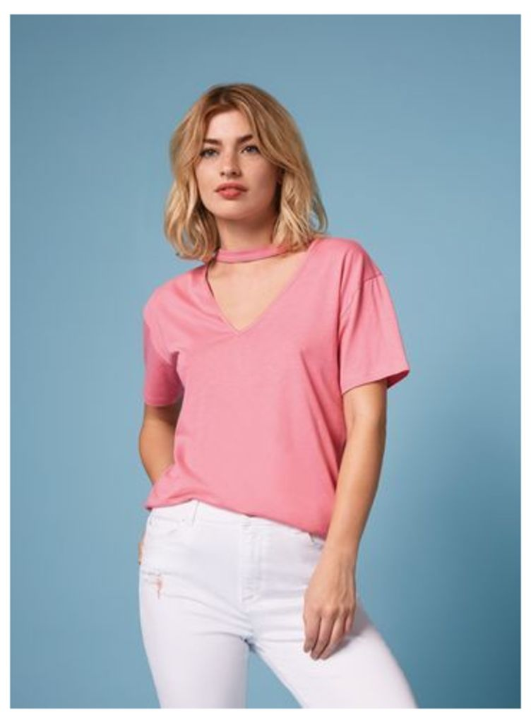 Womens Pink Choker Neck T-Shirt, Pink