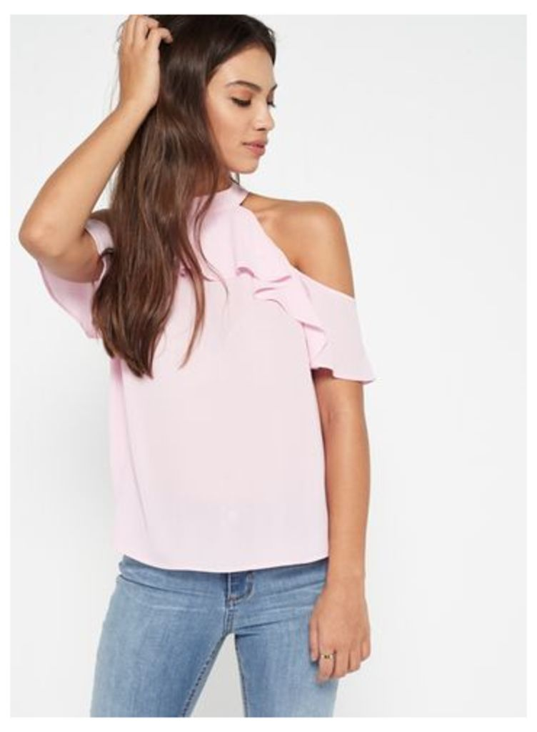 Womens Pink Halter Neck Cold Shoulder Top, Pink