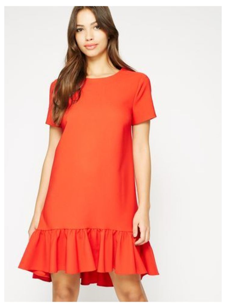 Womens Red Peplum Hem T-Shirt Dress, Red