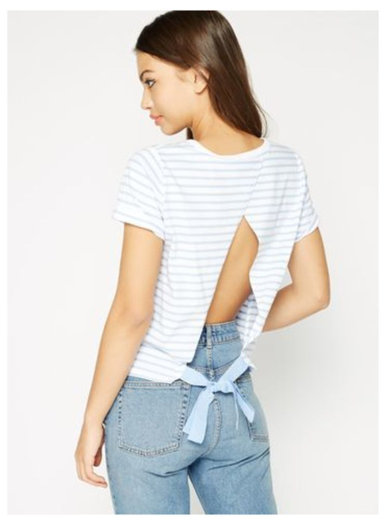 Womens Stripe Tie Back T-Shirt, Assorted