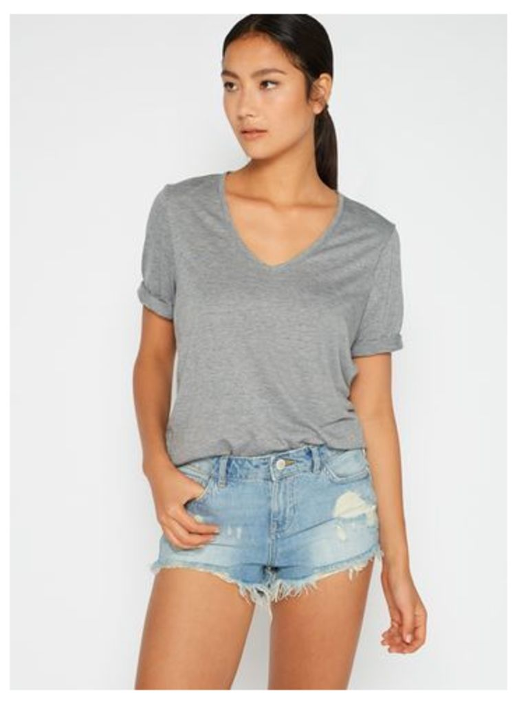 Womens Super Shredded Denim Shorts, Mid Wash Denim