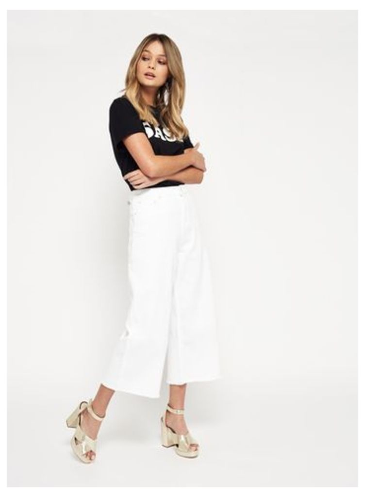 Womens White Wide Crop Jeans, White