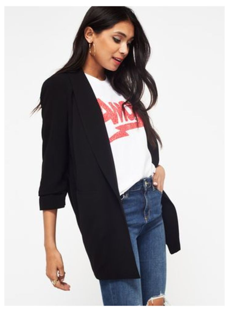 Womens Black Ruched Sleeve Blazer, Black