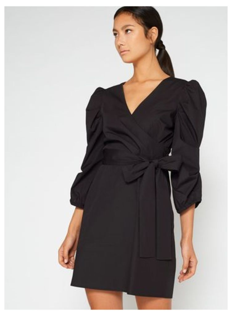 Womens Black Cross Front Wrap Dress, Black