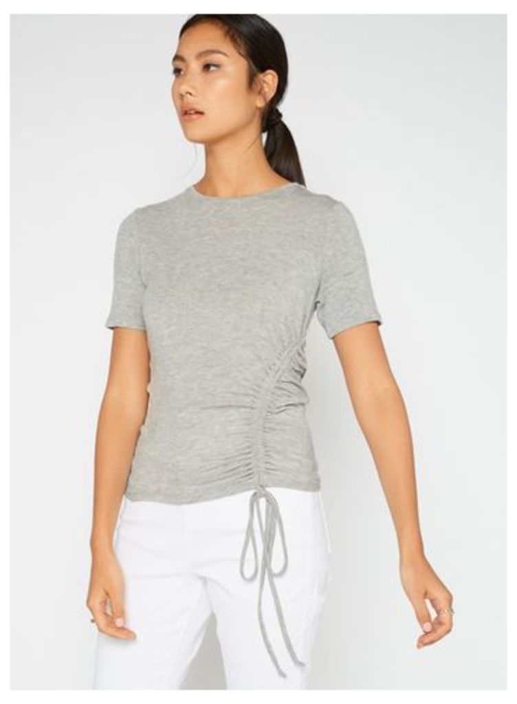 Womens Grey Drawstring Ruche Tee, Grey
