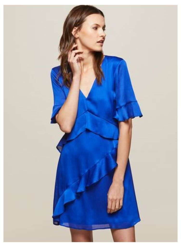 Womens Cobalt Frill Front Skater Dress, Blue