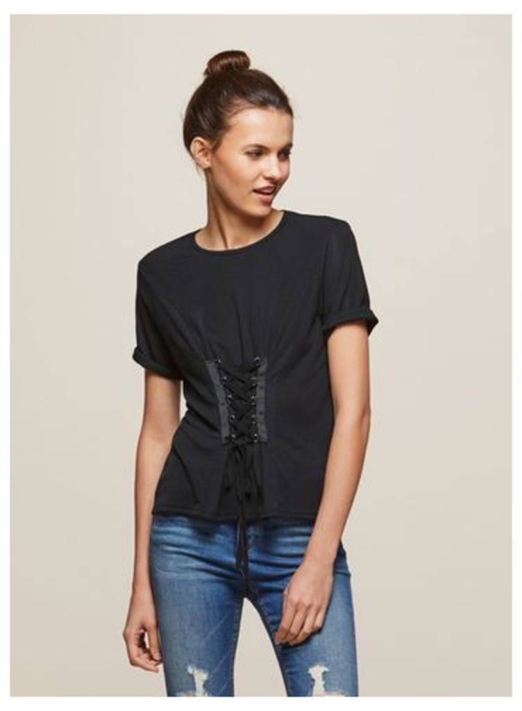 Womens PETITE Ribbed Corset T-Shirt, Black