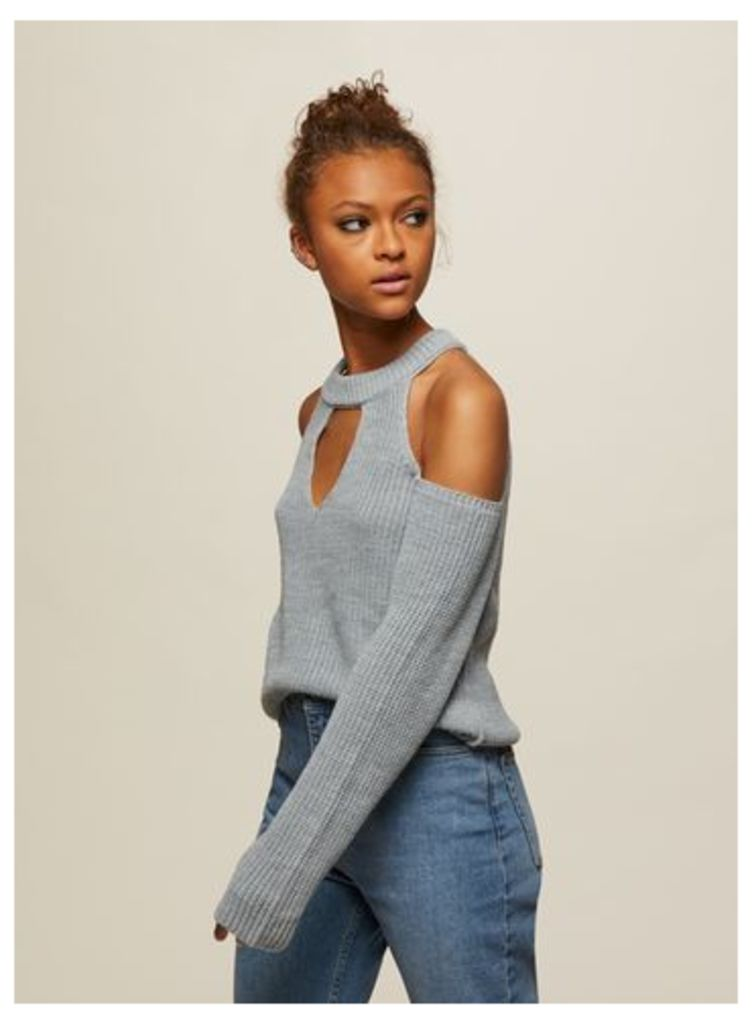 Womens Grey Cross Strap Knitted Jumper, Grey