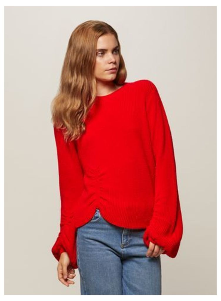 Womens Red Balloon Sleeve Knitted Jumper, Red