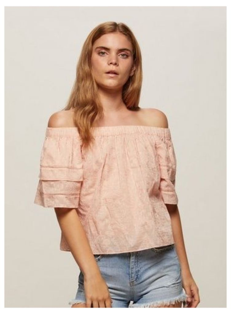 Womens Nude Embroidered Bardot Top, Nude