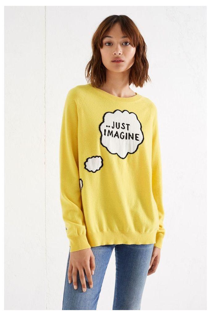 NEW Yellow Just Imagine Cashmere Sweater
