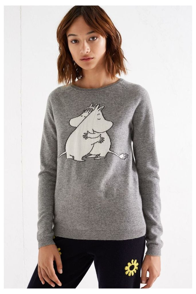 NEW Grey Moomin & Snork Maiden Embrace Cashmere Sweater