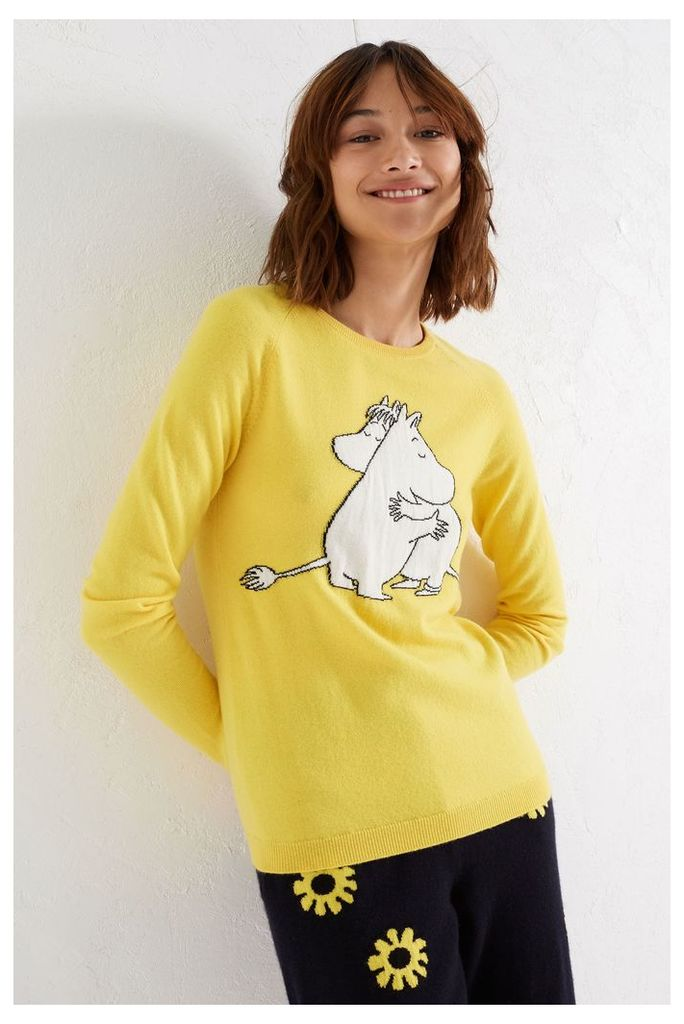 NEW Yellow Moomin & Snork Maiden Embrace Cashmere Sweater