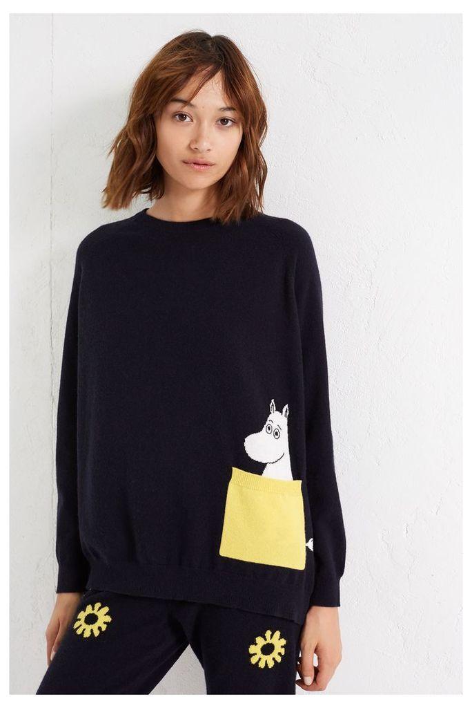 NEW Navy Moomin Peek Pocket Cashmere Sweater