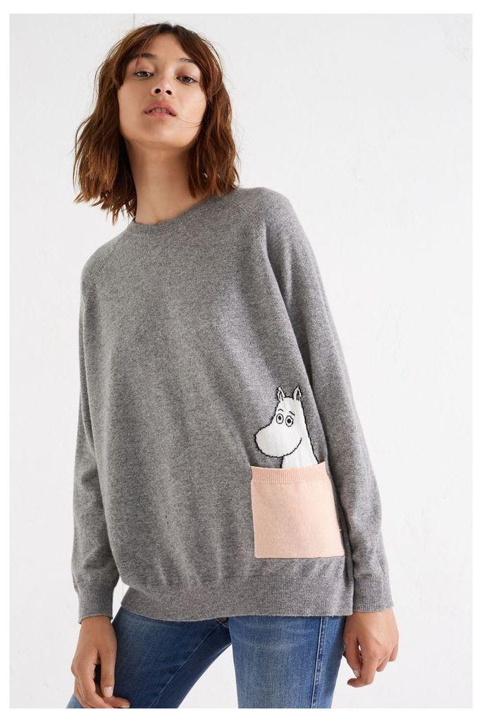 NEW Grey Moomin Peek Pocket Cashmere Sweater