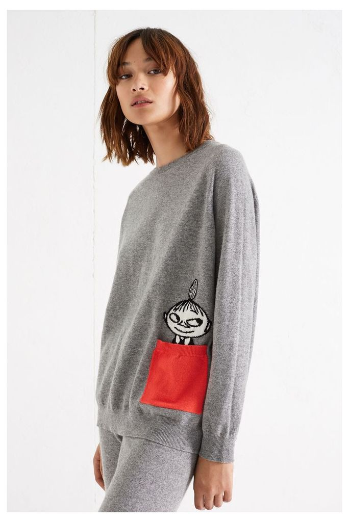 NEW Grey Little My Peek Pocket Cashmere Sweater