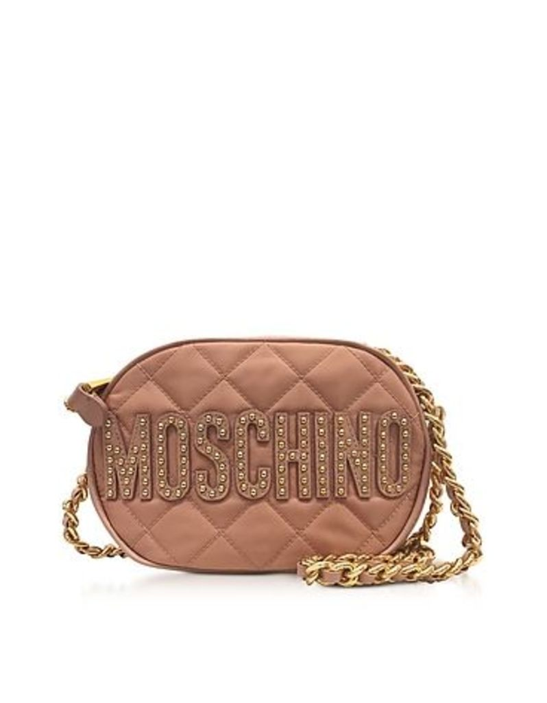 Moschino - Pink Nylon Quilted Oval Crossbody Bag w/Studs Logo