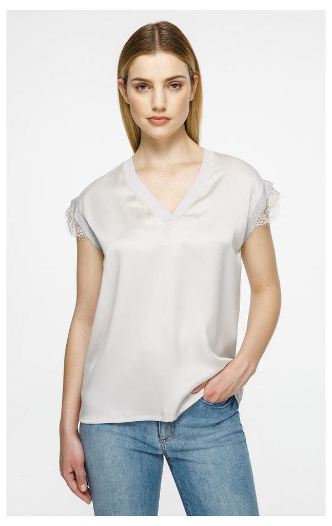 Silk Satin Cap-Sleeve Top