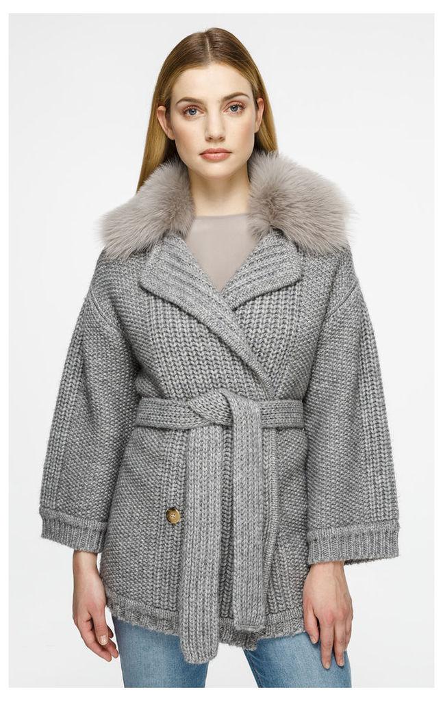 Wool Fur-Trimmed Cardigan