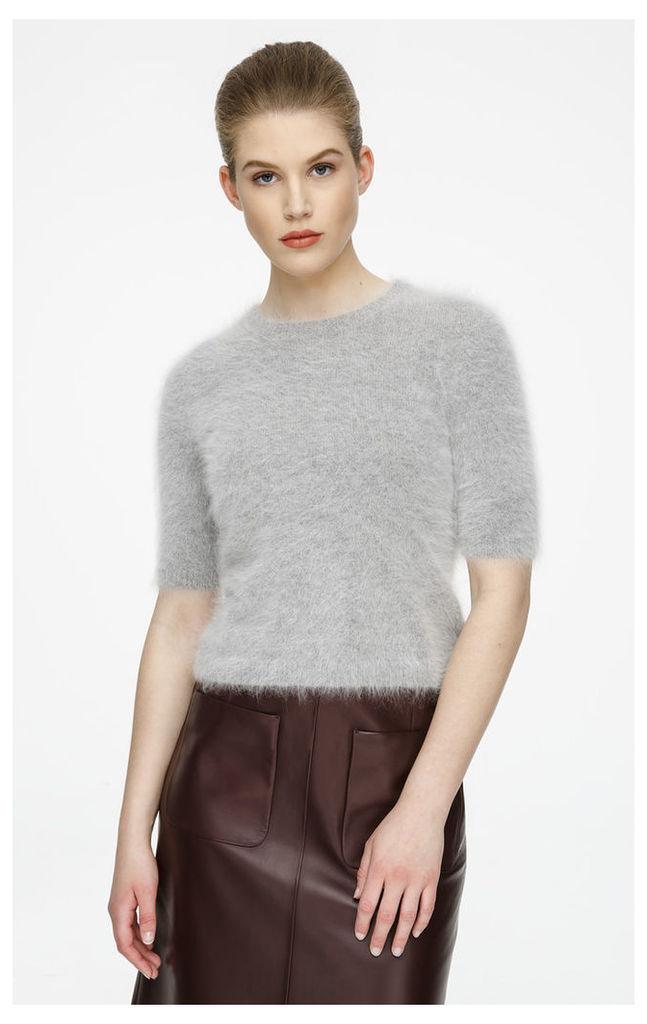 Short-Sleeve Angora Knit